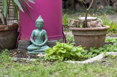 buddha mit rosa topf Klein